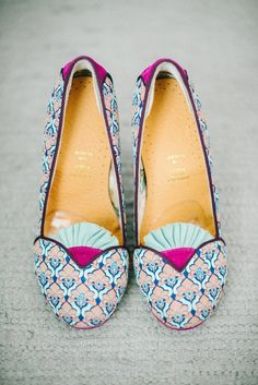 love the colors of these unique bridal shoes