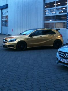 Chrome Gold Mercedes A45 AMG @ Mechelen, Belgium Gold Mercedes, Mercedes A45 Amg, M Benz, Car Car, Belgium, Chrome, Toys, Cars, Vehicles