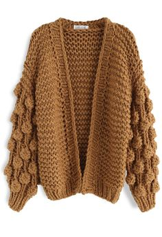 Cuteness on Sleeves Chunky Cardigan in Caramel - Retro, Indie and Unique Fashion Mode Outfits, Stylish Outfits, Fashion Outfits, Fashion Clothes, Girly Outfits, Unique Fashion, Fall Winter Outfits, Autumn Winter Fashion, Indie