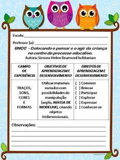 Simone Helen Drumond : BNCC - Colocando o pensar e o agir da criança no centro do processo educativo. Autora: Simone Helen Drumond Ischkanian Crafts For Kids, Education, Cristina, Montessori, Daycare Lesson Plans, Toddler Lesson Plans, Note Cards, Centre, Cute