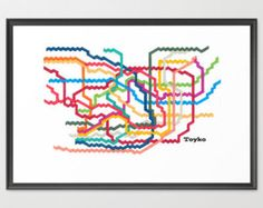 "Tokyo Subway - Tokyo Subway Map - 8"" h x 10"" w  -  Abstract Art, Digital Art Print"