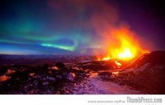 25 Marvelous Shots of Breathtaking Landscapes, ERUPTING VOLCANO WITH AURORA, ICELAND