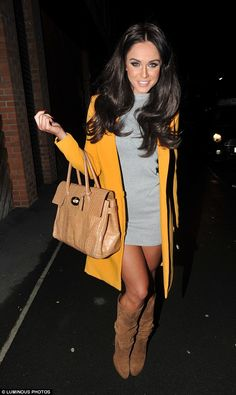 Vicky Pattison.. LASULA BOUTIQUE dress, Honey Boutique coat, Michael Kors boots, and Mulberry tote..