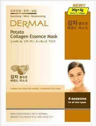 DERMAL Potato Collagen Essence Mask is a specially formulated cosmetic to penetrate highly concentrated active ingredients into the skin.  It makes your tired skin moistened, elastic, clear and relives your skin from stress!  Use 3 to 4 times per week.        Soothing      Mild      Moisturizing    USE AS COLD IN SUMMER: Before using, keep it in the refrigerator as package.    USE AS WARM IN WINTER: Before using, soak the package in warm water for about 2 to 3 minutes.    Expiration Date: 3…