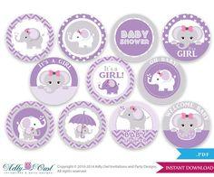 Purple Grey Girl Elephant Baby Shower por adlyowlinvitations