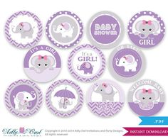 Purple Grey Girl Elephant Baby Shower Cupcake Toppers,Favor Tags, oh baby- chevron- It's a Girl DIY Pink, lilac -ONLY digital fil -SKU46 on Etsy, $5.50