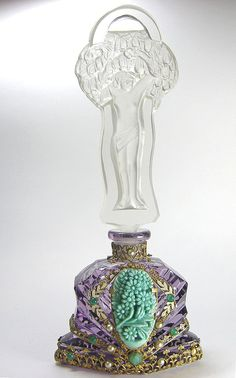 Amethyst Jeweled Czech Perfume Bottle Lady Stopper