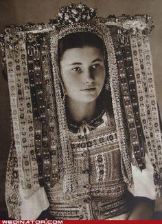 Slovak girl in folk dress wearing beautiful headdress Folklore, Costumes Around The World, Funny Wedding Photos, Wedding Costumes, Ethnic Dress, Cool Hats, Folk Costume, People Of The World, World Cultures
