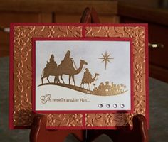 """Stampin' Up """"Come to Bethlehem"""" Foil Embossed Handmade Christmas Card"""