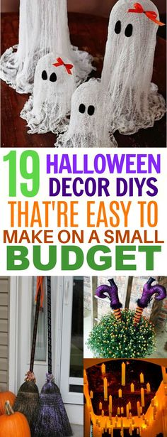 19 Spook-tacular DIY Halloween Decor That'll Make You Scream With Delight These 19 Halloween Decorations are Super Easy to Make From Dollar Store Materials! Halloween Mono, Holidays Halloween, Halloween Crafts, Holiday Crafts, Holiday Fun, Halloween Costumes, Halloween School Treats, Halloween Party Supplies, Diy Halloween Decorations