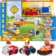 Paw Patrol   Adventure Bay Railway Set ; Paw Patrol Racers 3 Pack Vehicle  Set