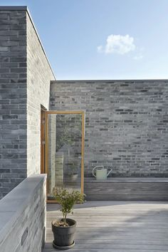 Terrace Porch Windows, Big Windows, Roof Cap, Self Build Houses, Square Windows, Brick Architecture, Concrete Steps, Built In Furniture, Interior Windows