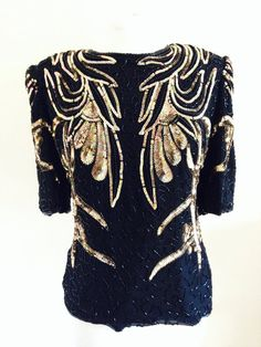 Frank Usher Vintage Party Beaded Top  by hancockandsmith on Etsy, £65.00