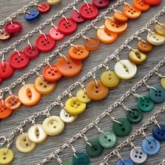 These button charm bracelets are so easy to make! From your local craft store, purchase jewelry chain, individual links, a clasp, and buttons! Use a pair of pliers to close links.