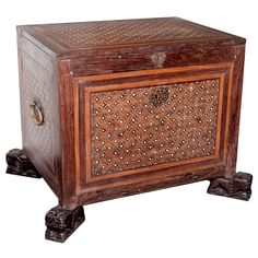 An Indo-Portuguese contador from the 18th century. It is made from rosewood with padouk, ebony and ivory inlay. The contador has an opening at the top and also a fall front opening at the bottom to reveal a set of drawers inside. It has a typical inlay pattern found on early Goan inlay contadors. The feet may be later but are of original pattern.