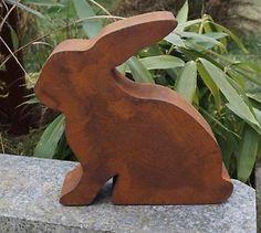 Edelrost Hase 3D Garten Terrasse Ostern Tierfigur Dekoration 31x30cm  | eBay