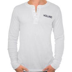 T-shirt lange mouwen met Holland in donkerblauw. Beschikbaar in diverse soorten shirts (maten, kleuren, dames, heren, kinderen, lange/korte mouwen, oversized, etc..)