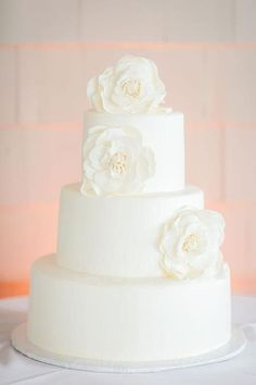 Different flowers but all white wedding cake {Beach Productions} All White Wedding, White Wedding Cakes, Elegant Wedding Cakes, Wedding Cake Designs, Beautiful Wedding Cakes, Wedding Simple, Spring Wedding, Wedding Cake Frosting, Cake Frosting Recipe