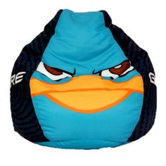 Your next mission is to join Agent P on a bean bag adventure. From the popular Disney series Phineas and Ferb, Perry the Platypus warns villains to Beware The Stare. You will love watching TV, reading or relaxing on this soft, comfortable bean bag. Great for the bedroom or family room. Double-locking zipper keeps fill inside. Polystyrene bean filling. Spot clean.