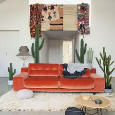 beau canapé confortable en velours et belle couleur chaude
