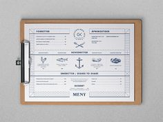 Final menu design for a Norwegian restaurant on the island of Gressholmen - just opened this summer so if you're in Oslo take the ferry across and check it out.
