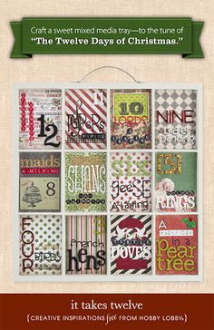 HobbyLobby Projects - It Takes Twelve Christmas Crafts For Gifts, Christmas Projects, Handmade Christmas, Christmas Decorations, Christmas Ideas, Holiday Decor, Twelve Days Of Christmas, Christmas Holidays, Hobby Lobby Crafts