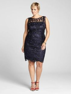 Laura Plus: for women size 14 . Update your soirée style with this gorgeous dress by Adrianna Papell. Boasting a lace overlay and sheer yoke, this body-skimming dress flaunts your curves in sophisticated style. Plus, the navy is a great dep...5010103-0302