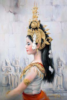 Aspara, x Traditional Dresses, Traditional Art, Cambodian People, Thai Art, Tattoo Stencils, Krishna Art, Thai Style, Art Model, Beauty Art