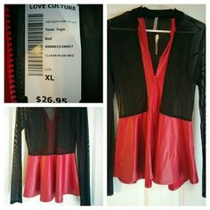 Love Culture mesh and faux red leather jacket This gorgeous jacket features a full zipper, mesh sleeves, and a stunning red faux leather peplum bottom. It is brand new with tags still attached! Love Culture Tops Tees - Long Sleeve