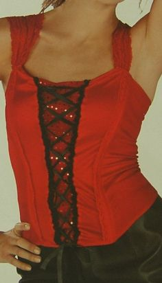 Sexy Lace Up Corset Red Sequin Top Bustier Lingerie Halloween Costume Sz L / XL #Target #TopShirt