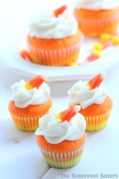 Mini Candy Corn Cupcakes