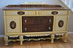 This Antique Jacobean Buffet was gorgeously refinished in Arles and Old Ochre Chalk Paint® decorative paint by Annie Sloan   By The Paint Factory