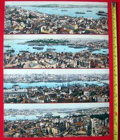 Maison de ventes aux enchères en ligne Catawiki: ISTANBUL, rare, immense 112 cm, PANORAMA 4 Cartes Postales série complète, STAMBOUL, CONSTANTINOPLE, TURQUIE. TURKEY, CONSTANTINOPOL
