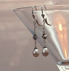 Beaded Earrings, Pearl Earrings, Us Dime, Ear Piercings, Swarovski Crystals, Dangles, Pearls, Sterling Silver, Metal