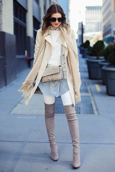 fall / winter, winter fashion, fall fashion, winter outfits, fall outfits, street style, street chic style, casual outfits, work outfits - beige trench coat, white sweater, blue stripe long shirt, white skinny jeans, grey heeled over the knee boots, black sunglasses, grey shoulder bag, beige scarf