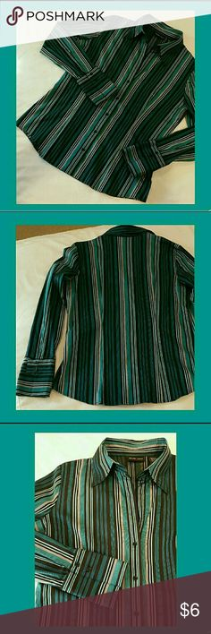 🔥NEW YORK & COMPANY STRIPED FITTED SHIRT STRETCH 🔥🔥🔥THIS ITEM IS PART OF MY 3/$10 SALE! BUNDLE WITH 2 MORE ITEMS MARKED WITH 🔥 & YOU WILL GET ALL 3 LISTINGS FOR $10!!!🔥🔥  Gorgeous color, fit, & sheen on this shirt by NY & Co. Black, teal, silver, & white stripes, open  collar design (does not have button at collar, & skips the next one as well) EUC, like new. New York & Company Tops Button Down Shirts