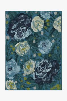 The impressionist-style floral motif of our Camellia Midnight rug is created with textured brush strokes in deep blues and citrus yellows.