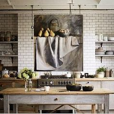I really love this kitchen dominated by the huge Diana Watson still life.. #kitchen #subwaytile #countrystyle