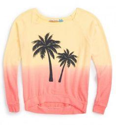 Palm and sunset sweatshirt. Trendy! Trendy! from Vintage Havana Long sleeve tops, Spring 2016, Tween Fashion, Tween Girls tops www.tweeninstyle.com
