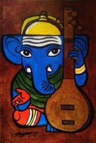 Ganesha-05 Painting By Gujjarappa B G
