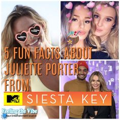 """5 Fun Facts About Juliette Porter from MTV's """"Siesta Key"""" Siesta Key Cast, Siesta Key Mtv, Mtv Shows, Fun Facts About Yourself, Favorite Tv Shows, It Cast, Celebrity, Entertaining, Feelings"""