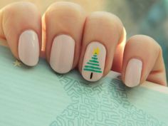 Simple Christmas tree accent nail by Nailed It With Glitter
