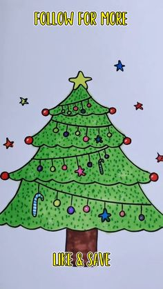 Kids Christmas drawing- How to draw easy christmas tree step by step