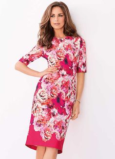 Floral Print Scuba Shift Dress