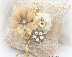 Ring Bearer Pillow Wedding Satin Black Ivory Green