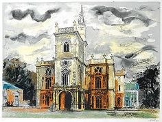 Image of a painting if Flintham Hall by John Piper hanging in Milton Keynes Central Library