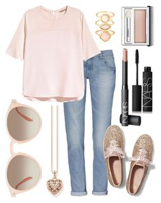 """""""Just Peachy"""" by kk-purpleprincess ❤ liked on Polyvore featuring H&M, Keds, Thomas Sabo, GlassesUSA, NARS Cosmetics, Clinique and Monsoon"""