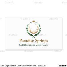 Golf Logo Emblem Golfball Crown Business Card