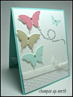 Papillon Potpourri, Elegant Butterfly punch, Flight of the Butterfly (sentiment), Adorning Accents EF, White Ribbon, Rhinestones