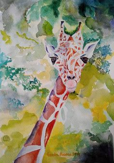 #Innocence #Giraffe #watercolor #art #drawing #painting #illustration by #GeetaBiswas #original  at $100 #artprints at $27 #decor #ideas #gift #wildlife #jungle #posters #artworks
